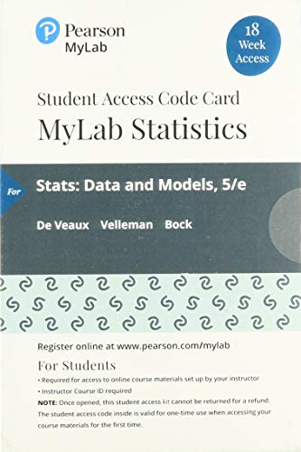 Mylab Statistics with Pearson Etext -- 18 Week Standalone Access Card -- For STATS