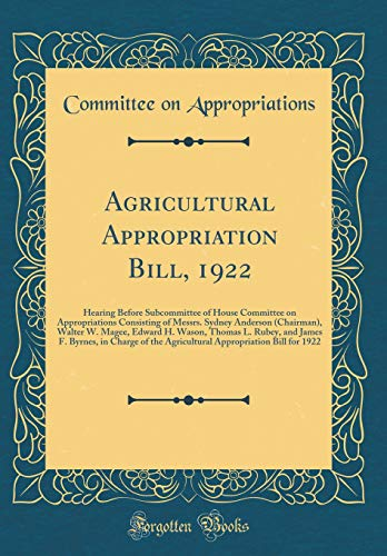 Agricultural Appropriation Bill, 1922