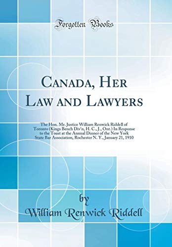 Canada, Her Law and Lawyers