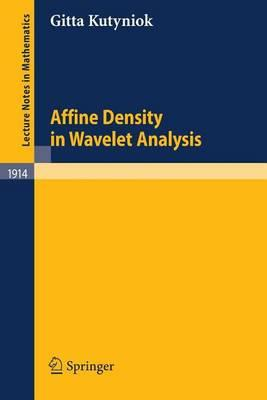 Affine Density in Wavelet Analysis. Lecture Notes in Mathematics, Volume 1914.