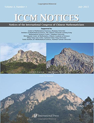 Notices of the International Congress of Chinese Mathematicians, Volume 3, Number 1 (2015)