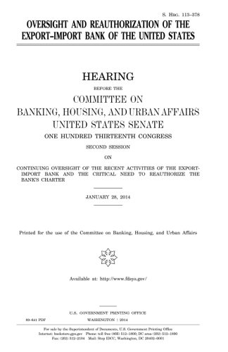 Oversight and Reauthorization of the Export-Import Bank of the United States