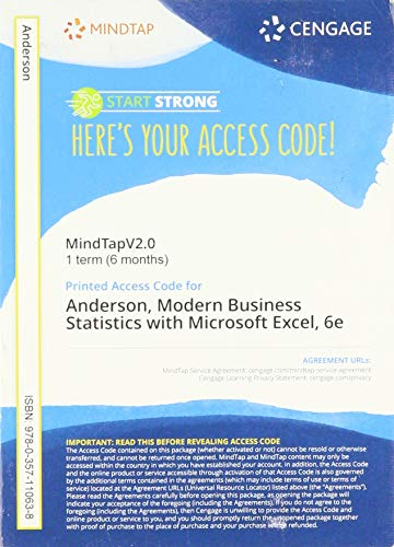 Mindtapv2.0 for Anderson/Sweeney/Williams/Camm/Cochran's Modern Business Statistics with Microsoft Excel, 1 Term Printed Access Card